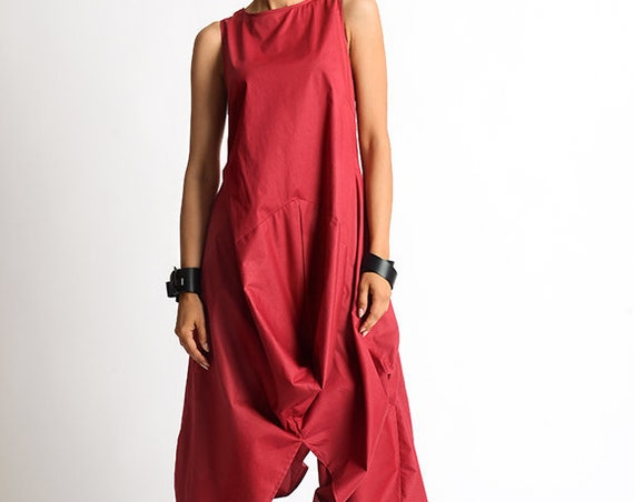 Red Extravagant Dress/Long Short Casual Dress/Red Kaftan/Loose Tunic Dress/Sleeveless Maxi Dress/Asymmetric Tunic Dress/Red Summer Dress