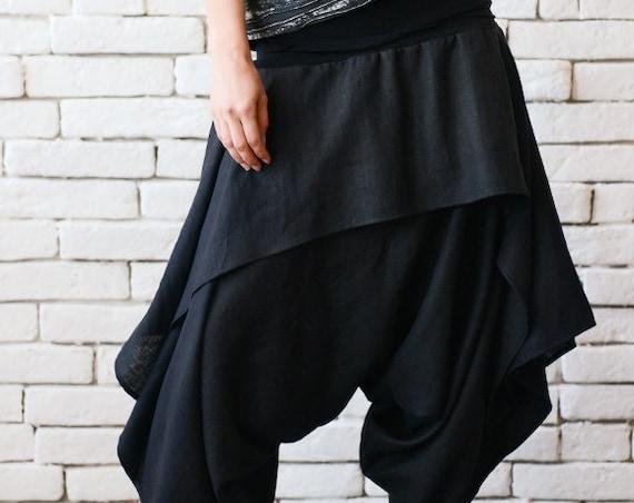 Black Asymmetric Skirt Pants/Drop Crotch Loose Pants/Extravagant Linen Trousers/Black Gypsy Pants/Linen Maxi Pants/Oversize Harem Pants