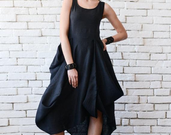Comfortable High Quality Black Linen Dress by Metamorphoza
