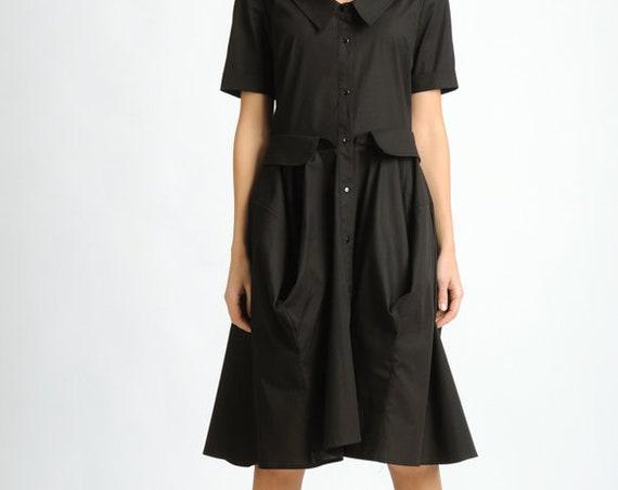 Extravagant Black Shirt Dress/Short Sleeve Collar Dress/Casual Knee Length Dress/Oversize Button Dress/Comfortable Everyday Black Dress