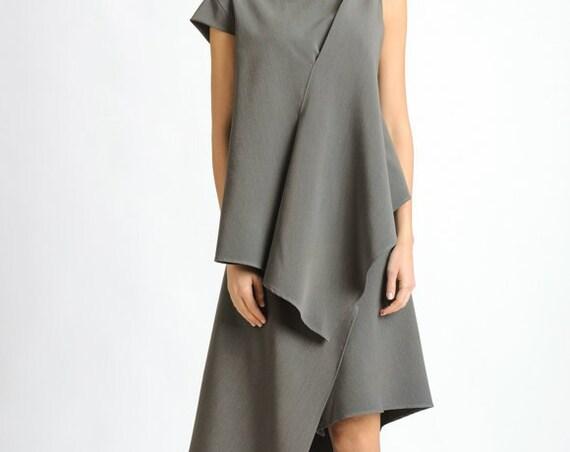 Grey Dress with One Sleeve/Asymmetric Tunic Dress/Loose Casual Dress/Oversize Asymmetric Top/Extravagant Grey Summer Dress METD0119