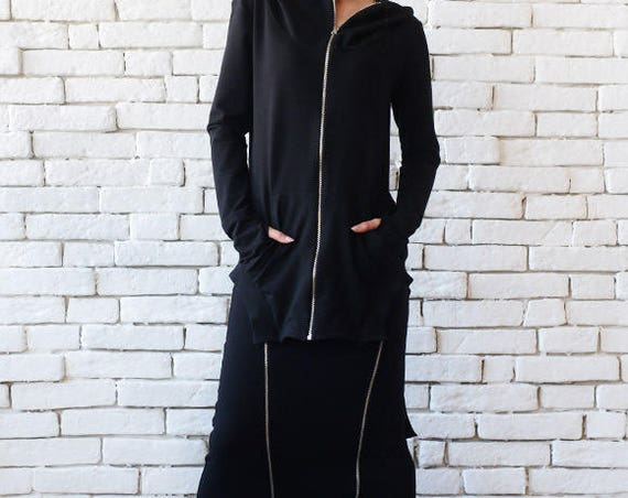 Black Set of Skirt and Tunic/Casual Black Set/Asymmetric Black Skirt/Hooded Zipper Tunic/Loose Everyday Skirt Tracksuit/Black Hoodie Top