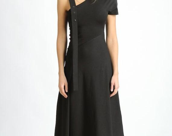 Black Asymmetric Dress/Extravagant Loose Dress/Oversize Long Tunic with One Sleeve/Black Maxi Dress/Dress with Studs/Casual Black Dress