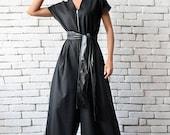 Black Maxi Jumpsuit Oversize Loose Jumpsuit Plus Size Overall Short Sleeve Top Wide Leg Bottom Suit Loose Zipper Jumpsuit METJ0008