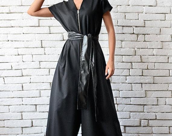 Black Maxi Jumpsuit/Oversize Loose Jumpsuit/Plus Size Overall/Short Sleeve Top Wide Leg Bottom Suit/Loose Zipper Jumpsuit METJ0008