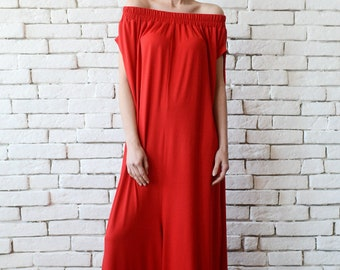 Plus Size Red Jumpsuit/Oversize Long Overall/Casual Red Maxi Romper/Casual Loose Long Jumpsuit/Wide Leg Jumpsuit/Long Red Jumpsuit Pants