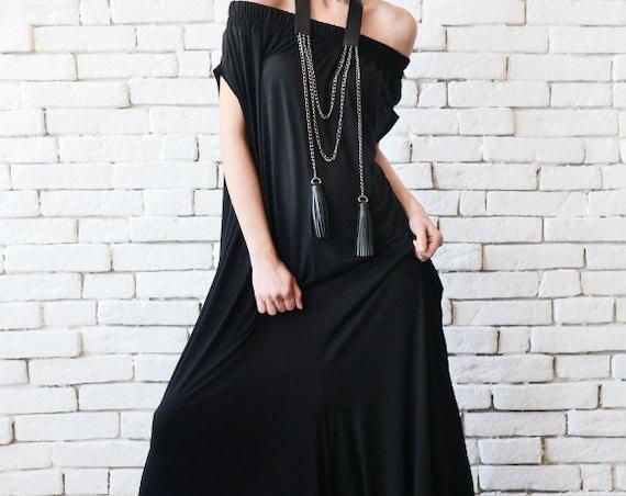 Black Maxi Jumpsuit/Extravagant Wide Leg Romper/Plus Size Long Jumpsuit/Everyday Casual Jumpsuit/Black Loose One Piece/Oversize Romper