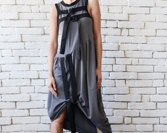 Extravagant Grey Loose Tunic/Long Short Dress/Loose Long Top with Clasps/Asymmetric Casual Dress/Long Maxi Top/Sleeveless Short Dress