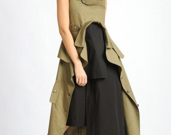 Extravagant Sleeveless Dress/Loose Asymmetric Long Tunic/Khaki and Black Back Zipper Dress/Oversize Long Tunic Top/Multi Color Dress