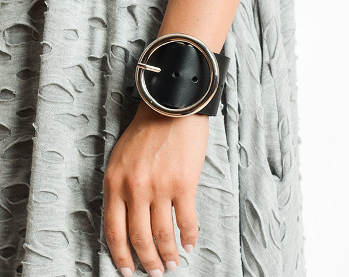Black Genuine Leather Bracelet/Metal Buckle Wristband/Black Leather Hand Accessory/Statement Black Bracelet/Extravagant Wrap Bracelet