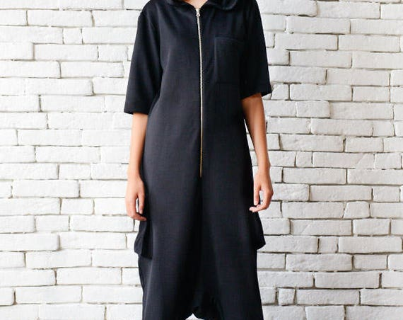 Black Maxi Jumpsuit/Plus Size Onepiece/Black Drop Crotch Pants/Hooded Loose Tunic/Black Casual Jumpsuit/Black Short Sleeve One Piece Romper