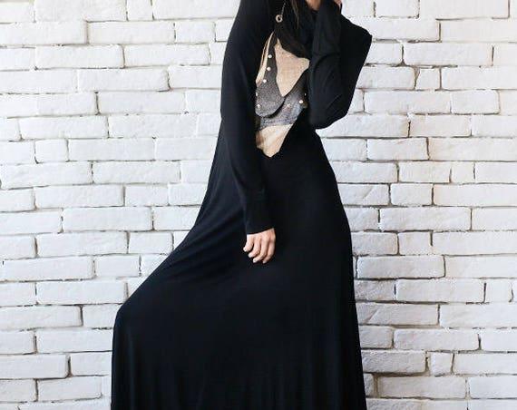 Long Loose Dress/Black Maxi Dress/Oversize Long Top/Long Sleeve Neck Dress/Casual Everyday Dress/Turtle Neck Dress/Black Maxi Kaftan