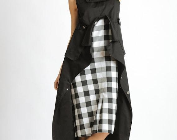 Black and White Checked Dress/Extravagant Asymmetric Dress/Loose Long Tunic Top/Sleeveless Casual Dress/Handmade Checkered Pattern Dress
