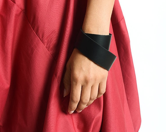 Black Leather Wrap Bracelet/Genuine Leather Accessory/Extra Long Unisex Bracelet/Wide Black Genuine Leather Bracelet with Snap Closure