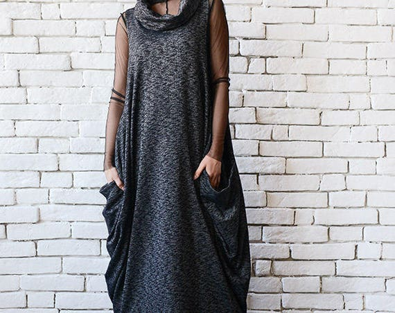 Black Maxi Dress/Oversize Long Top/Plus Size Tunic/Sleeveless Long Dress/Maxi Black Dress/Casual Everyday Dress/Polo Neck Black Dress