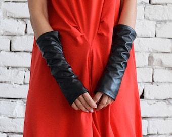Leather Gloves / Fingerless Gloves/ No finger gloves/ Long gloves/ Eco Leather Gloves by METAMORPHOZA