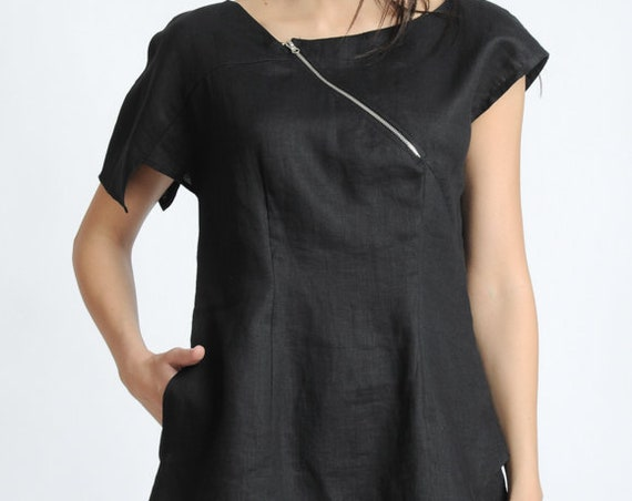 Black Short Sleeve Tunic/Asymmetric Linen Top/Extravagant Casual Shirt/Black Summer Blouse/Hidden Zipper Tunic Top METT0134