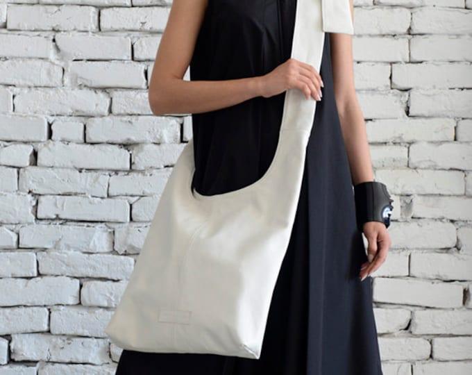 White Shoulder Bag/Extravagant Maxi Bag/Cross Body Tote/Genuine leather White Bag/Modern Casual Maxi Clutch/Big Everyday Handbag/Casual Bag