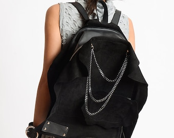 NEW Black Suede Backpack/Extravagant Genuine Leather Handbag/Oversize Black Leather Purse/Handmade Leather and Suede Tote/Chain Black Bag