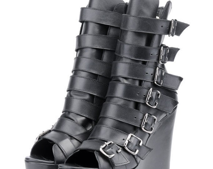Extravagant Black Shoes/Genuine Leather Open Toe Boots/High Heels with Decorative Belts/Black Leather Ankle Boots/Comfortable High Heels