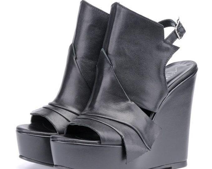 Extravagant Black Leather Sandals/Genuine Leather Summer Heels/Black Leather Shoes/Leather Wedges/Black High Heels/Platform Shoes