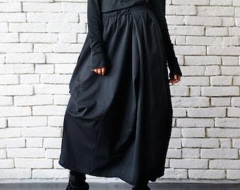 Asymmetric Long Black Skirt/Extravagant Casual Skirt/Loose Black Skirt/Elastic Waist Skirt/Plus Size Skirt/Black Oversize Asymmetric Skirt
