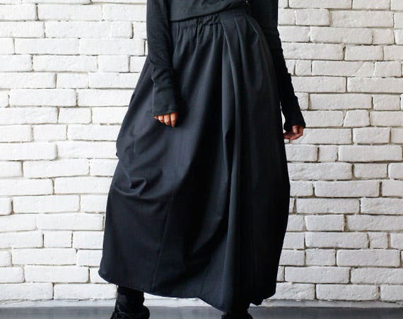 Asymmetric Long Black Skirt/Extravagant Casual Skirt/Loose Black Skirt/Elastic Waist Skirt/Plus Size Skirt/Black Oversize Asymmetric Skirt