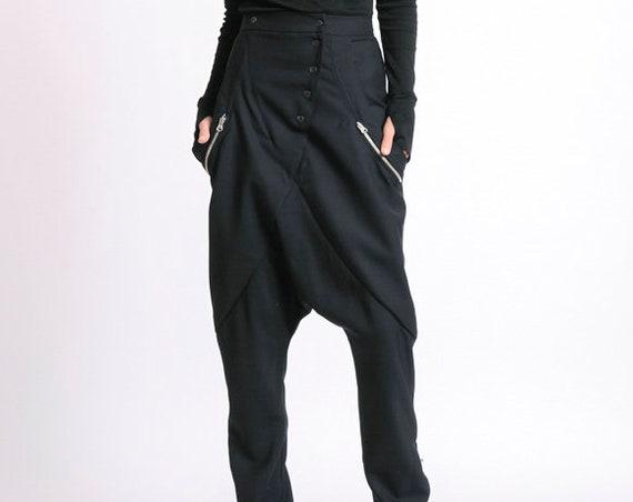 Drop Crotch Maxi Pants/Extravagant Loose Trousers/Long Black Pants/Oversize Maxi Pants/Casual Plus Size Trousers METP0050