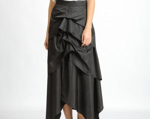 Black Asymmetric Skirt/Extravagant Loose Long Skirt/Skirt with Hidden Zipper/Everyday Black Maxi Skirt/Oversize Shiny Skirt/Black Skirt
