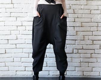 Drop Crotch Black Pants/Loose Wide Pants/Black Maxi Pants/Oversize Casual Pants/Black Harem Pants/Calf Length Capris/Black Loose Trousers