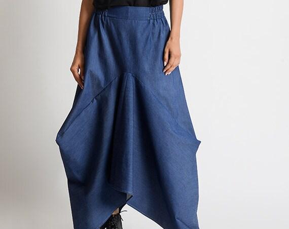 Asymmetric Denim Skirt/Extravagant Loose Skirt/Blue Jean Maxi Skirt/Long Loose Skirt/Oversize Asymmetric Skirt/Elastic Waist Denim Skirt