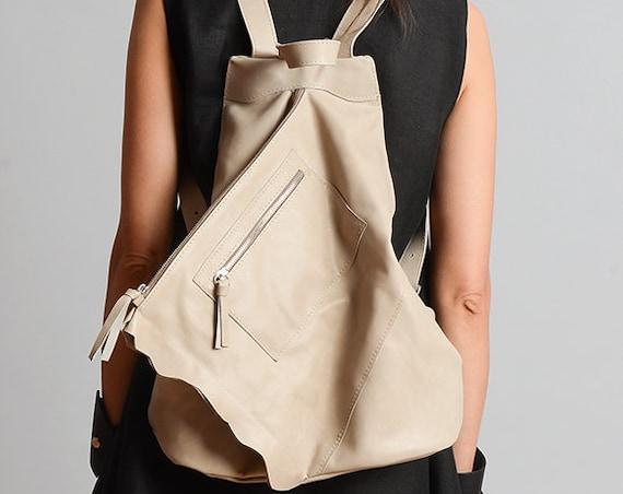 Beige Extravagant Backpack/Genuine Leather Bag/Everyday Beige Rucksack/Handmade Leather Satchel/Asymmetric Leather Handbag/Beige Tote