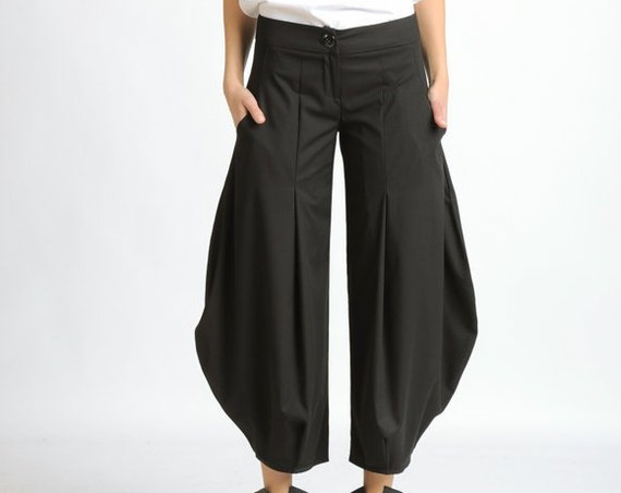 Black Loose Pants/Plus Size Maxi Pants/Long Black Pants/Wide Leg Gypsy Pants/Oversize Black Trousers/Black Ankle Pants/Casual Pants