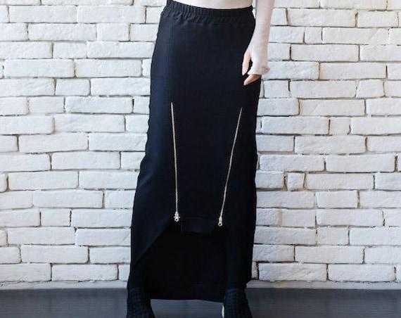 Asymmetric Black Skirt/Extravagant Alternative Skirt/Zipper Detail Long Short Black Skirt/Black Tight Skirt with Zippers/Party Black Skirt