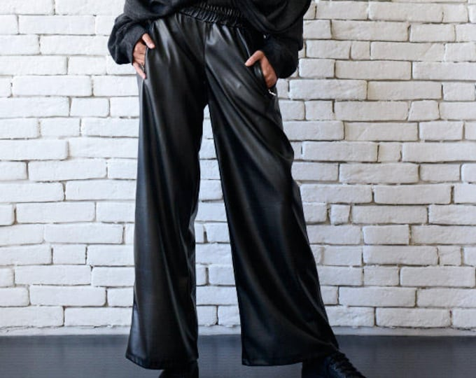 Long Black Leather Pants/Black Maxi Pants/Casual Wide Leg Black Pants/Black Leather Trousers/Loose Black Pants/Extravagant Leather Pants