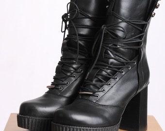 Leather Heels/Extravagant Black Heels/Black Boots/Leather Black Boots/Sexy Heels/Leather High Heels/Extravagant Boots with Ties/Black Heels