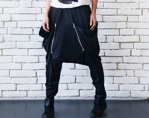 Drop Crotch Black Pants/Long Loose Maxi Pants/Black Casual Trousers/Oversize Black Pants/Plus Size Pants/Comfortable Black Harem Pants