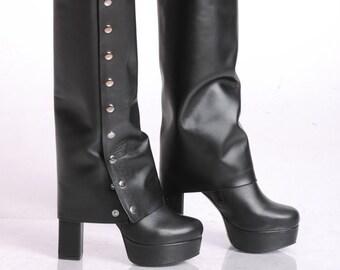 NEW Extravagant Black Heels/Leather Heels/Leather Black Boots/Sexy Heels/Black Boots/Leather High Heels