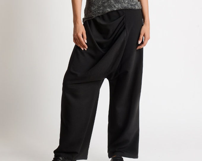 Loose Black Pants/Extravagant Wide Leg Trousers/Asymmetric Black Pants/Drop Crotch Pants/Plus Size Maxi Pants/Black Long Wide Pants