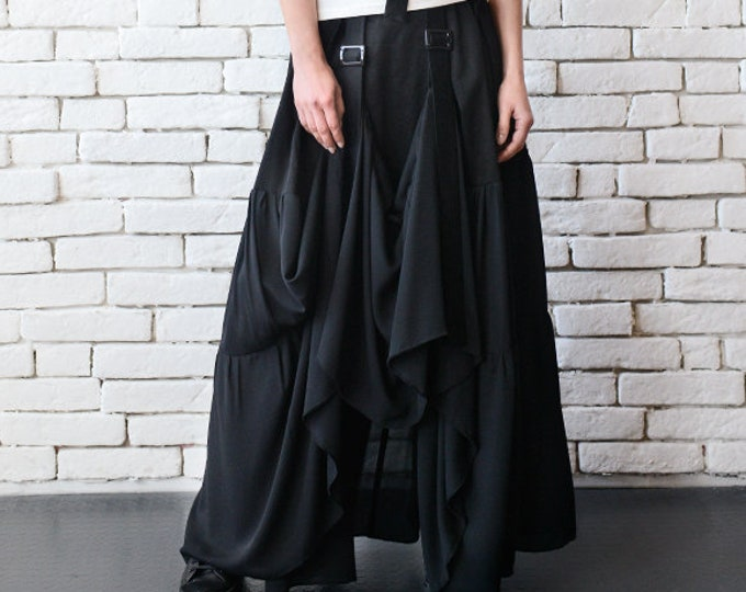 Long Maxi Skirt/Extravagant Asymmetric Skirt with Front Accent/Long Loose Black Skirt/Black Cotton Skirt/Black Maxi Skirt/Oversize Skirt