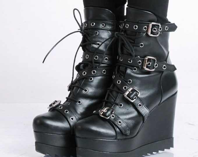 Extravagant Boots with Decorative Belts/Black High Heels/Genuine Leather Wedges/Black Leather Boots/Modern Platform Shoes/Short Boots