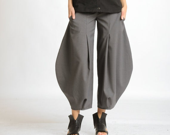 Grey Oversize Trousers/Wide Loose Pants/Long Grey Pants/Plus Size Pants/Casual Ankle Pants/Wide Leg Trousers/Extravagant Loose Pants