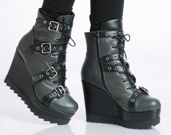 Genuine Leather Boots/Handmade High Heels/Extravagant Ankle Boots/Khaki Leather Wedges/Boots with Decorative Belts/Oil Green Zipper Boots