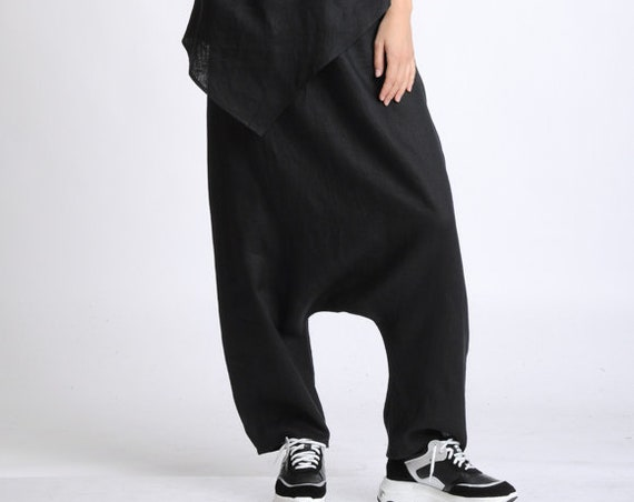Black Harem Pants/Oversize Loose Trousers/Black Linen Pants/Plus Size Pants/Black Maxi Pants/Casual Linen Pants/Drop Crotch Trousers