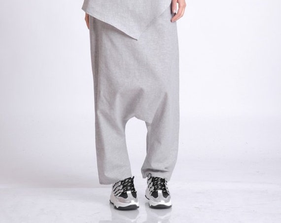 Light Grey Linen Pants/Drop Crotch Casual Pants/Oversize Long Trousers/Maxi Linen Pants/Plus Size Linen Pants/Casual Everyday Pants METP0054