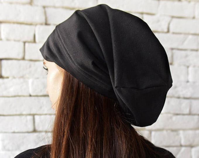 Black Drape Hat/Asymmetric Black Beanie/Slouchy Beanie/Unisex Beanie Hat/Oversize Black Hat/Casual Black Hat/Black Cotton Hat/Sports Hat