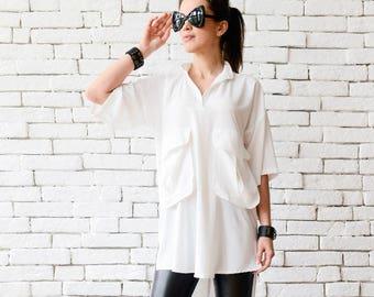 SALE White Plus Size ShirtExtravagant Asymmetric TunicHalf Sleeve Oversize Long TopWhite Maxi TunicComfortable Work ShirtHalf Sleeve To