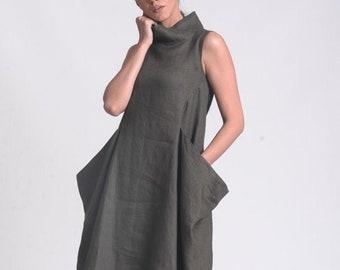 Plus Size Linen Dress with Mockneck by METAMORPHOZA