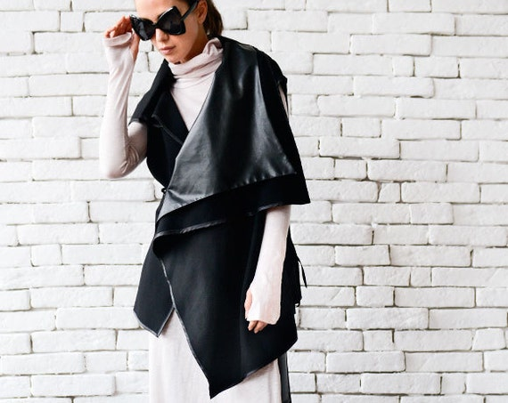Asymmetric Black Vest / Long Top with Leather Details / Leather Vest / Black Tunic by / Loose Sleeveless Jacket / Oversize Long Top