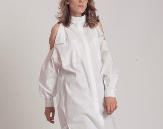 NEW Plus Size Tunic / Oversized White Shirt / Maxi Shirt Dress / Asymmetrical Top / Cotton Shirt Dress